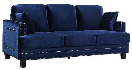 Meridian Furniture Ferrara Velvet Nailhead Sofa, Navy