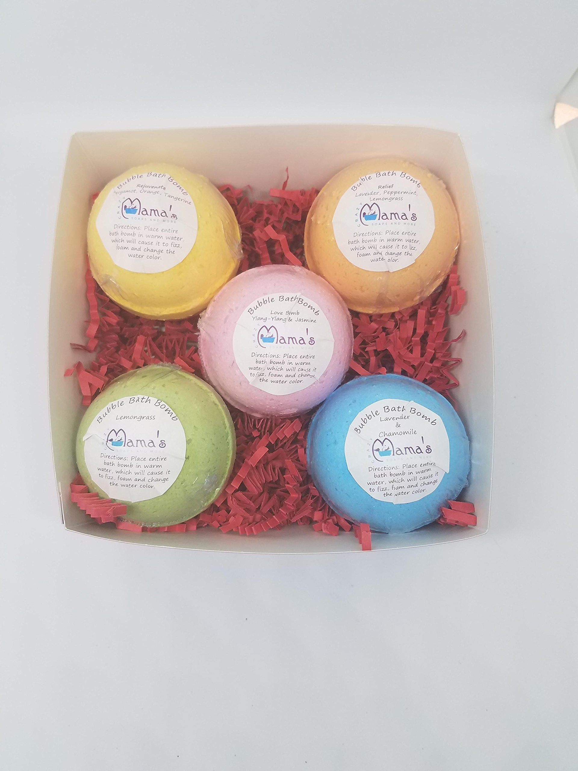 Bath Bomb Gift Set - 5 Pack Essential Oil Bath Bomb Set - Large 4.5 oz, 2.5 inch by Crazy Mama's Soaps and More Gift Box with packing - Handmade in Colorado. by Crazy Mama's Soaps and More