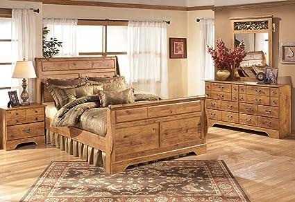 Bittersweet Queen Bedroom Set With Sleigh Bed Dresser Mirror And Nightstand  In Light Wood