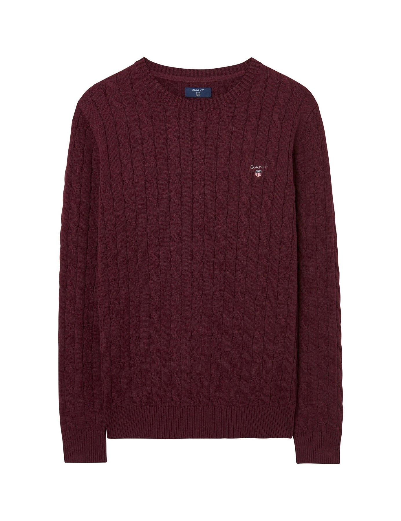 Gant Men's Men's Burgundy Cotton Cable Sweater in Size L Red