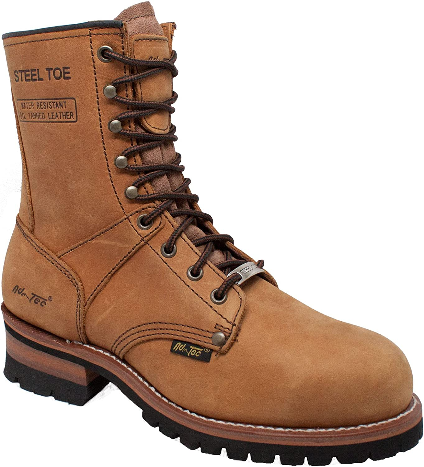 """Ad Tec 9"""" Super Logger Steel Toe Boots for Men, Leather Goodyear Welt Construction & Utility Footwear, Durable and Long Lasting Work Shoes, Lug Sole"""