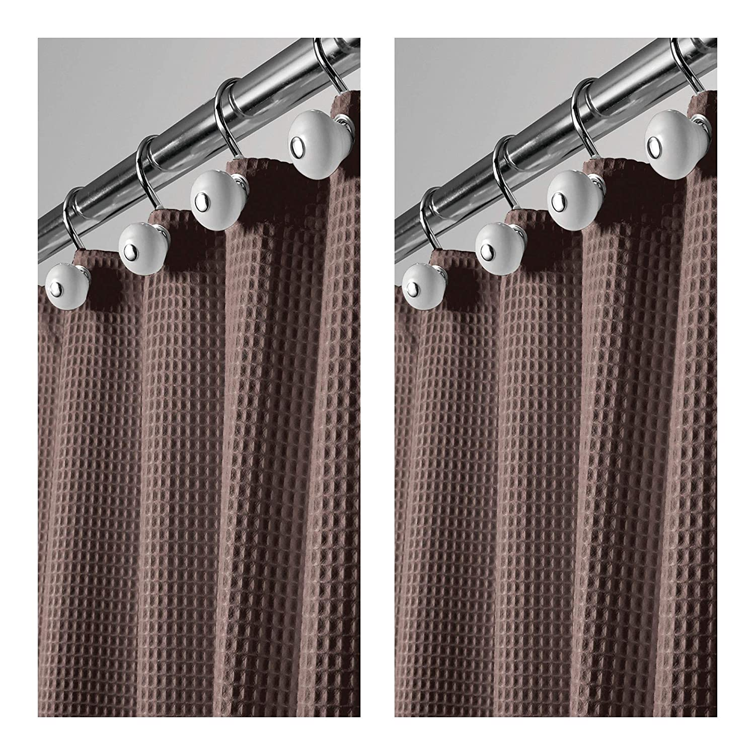 mDesign Hotel Quality Polyester/Cotton Blend Fabric Shower Curtain Waffle Weave Rustproof Metal Grommets Bathroom Showers Bathtubs - 72