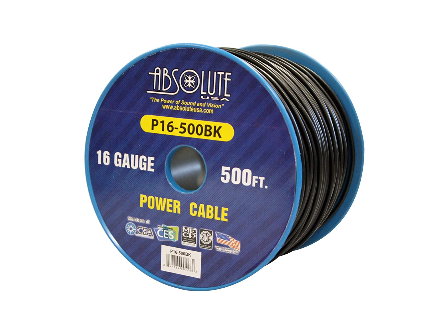 Absolute USA P16-500BK 16 Gauge 500-Feet Spool Primary Power Wire Cable (Black)