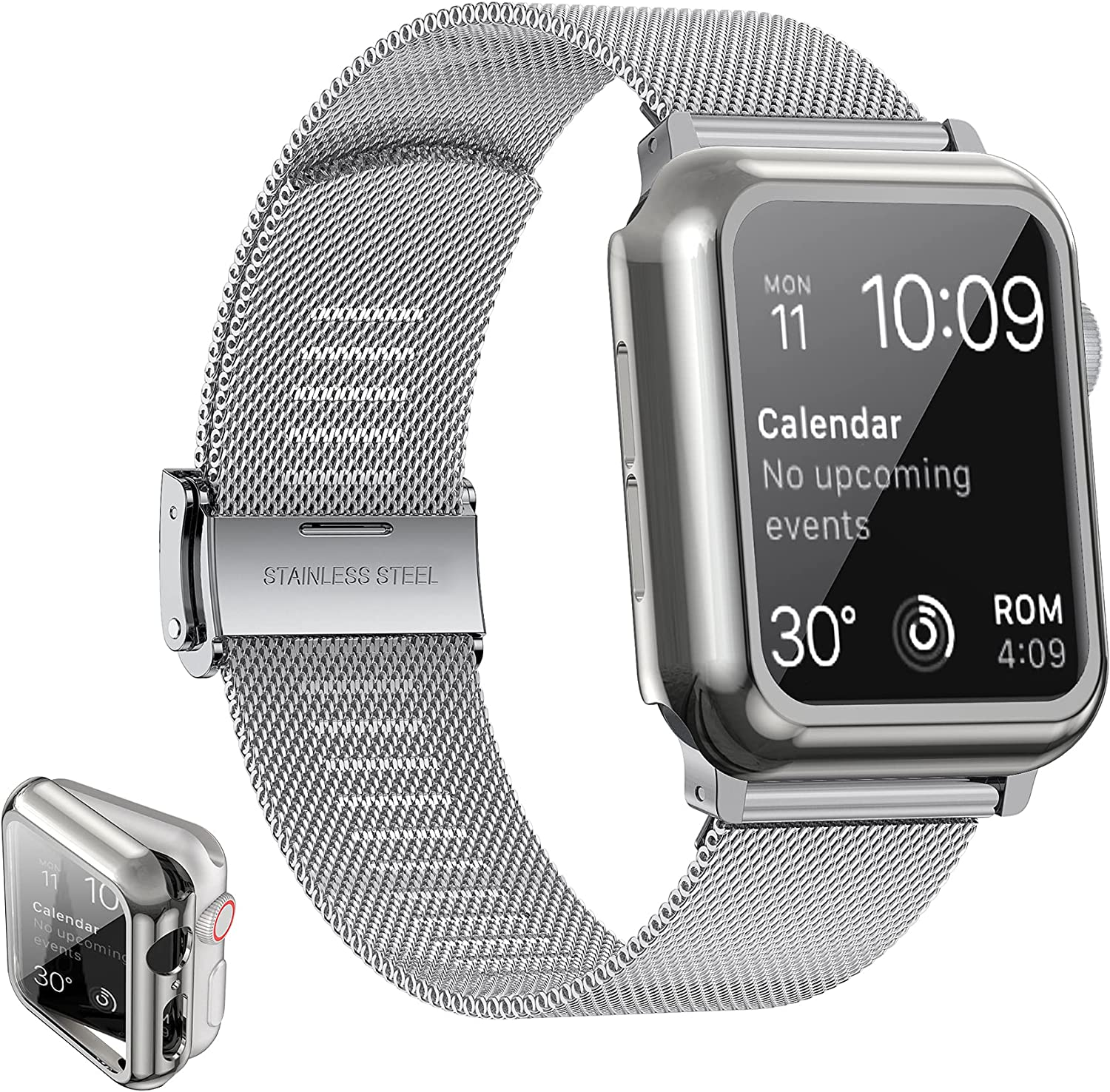 Girovo Compatible with Apple Watch Band 40mm Women Men, Stainless Steel Mesh iWatch Bands with Screen Protector Case Cover Accessories for Apple Watch Bands Series 6/SE/Series 5/Series 4, Silver