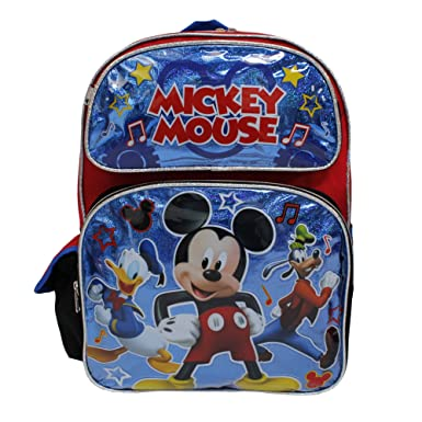 bc4e46d521f9 Image Unavailable. Image not available for. Color  Disney Mickey  Mouse quot Roadster Racers quot  Shiny Blue   Black Large Boys  School  Backpack
