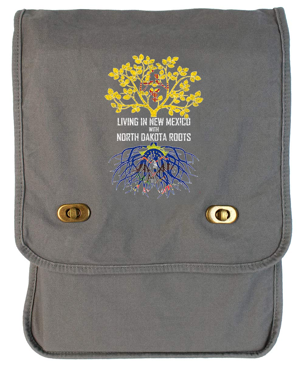 Tenacitee Living In New Mexico with North Dakota Roots Grey Brushed Canvas Messenger Bag