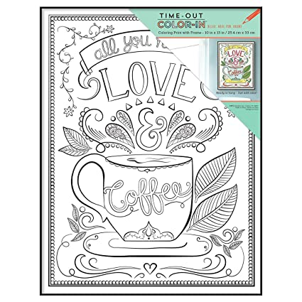 MCS 10x13 Inch Time Out Color In Frame Adult Coloring Page Love