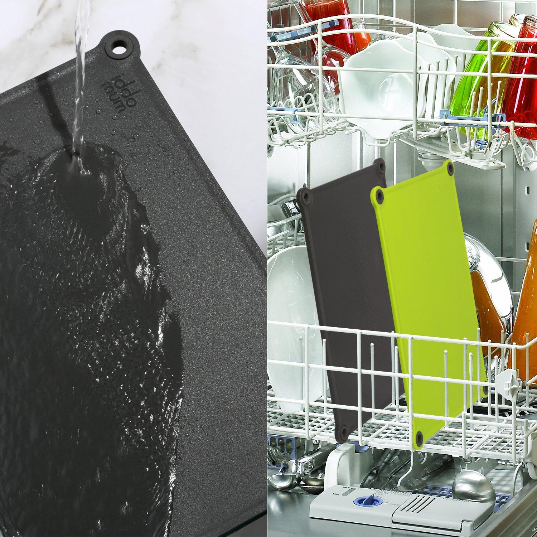 iddomum Kunststoff Schneidebrett (2er-Set) für die Küche, Ohne BPA, Beidseitig verwendbar, spülmaschinenfest, mit Anti-Rutsch-Füßen und Anti-Schwapp-Kanten
