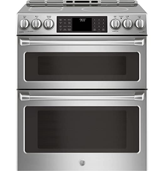 GE Cafe CHS995SELSS 30 Inch Slide-in Electric Range with Smoothtop Cooktop,  2 3 cu  ft  Primary Oven Capacity in Stainless Steel