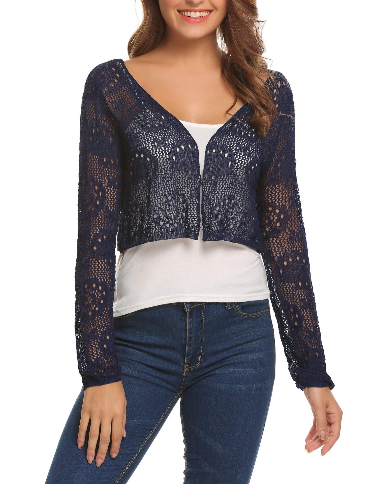 Zeagoo Womens Vintage Lace Crochet Knitted Bolero Shrug Retro Style Open Cardigan Crop Top Navy Blue/XXL