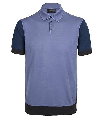 b86d0313 Emporio Armani 3Z1MXD 1MRZZ Silk Blended Cotton Knitted Mens Polo Shirt (M)