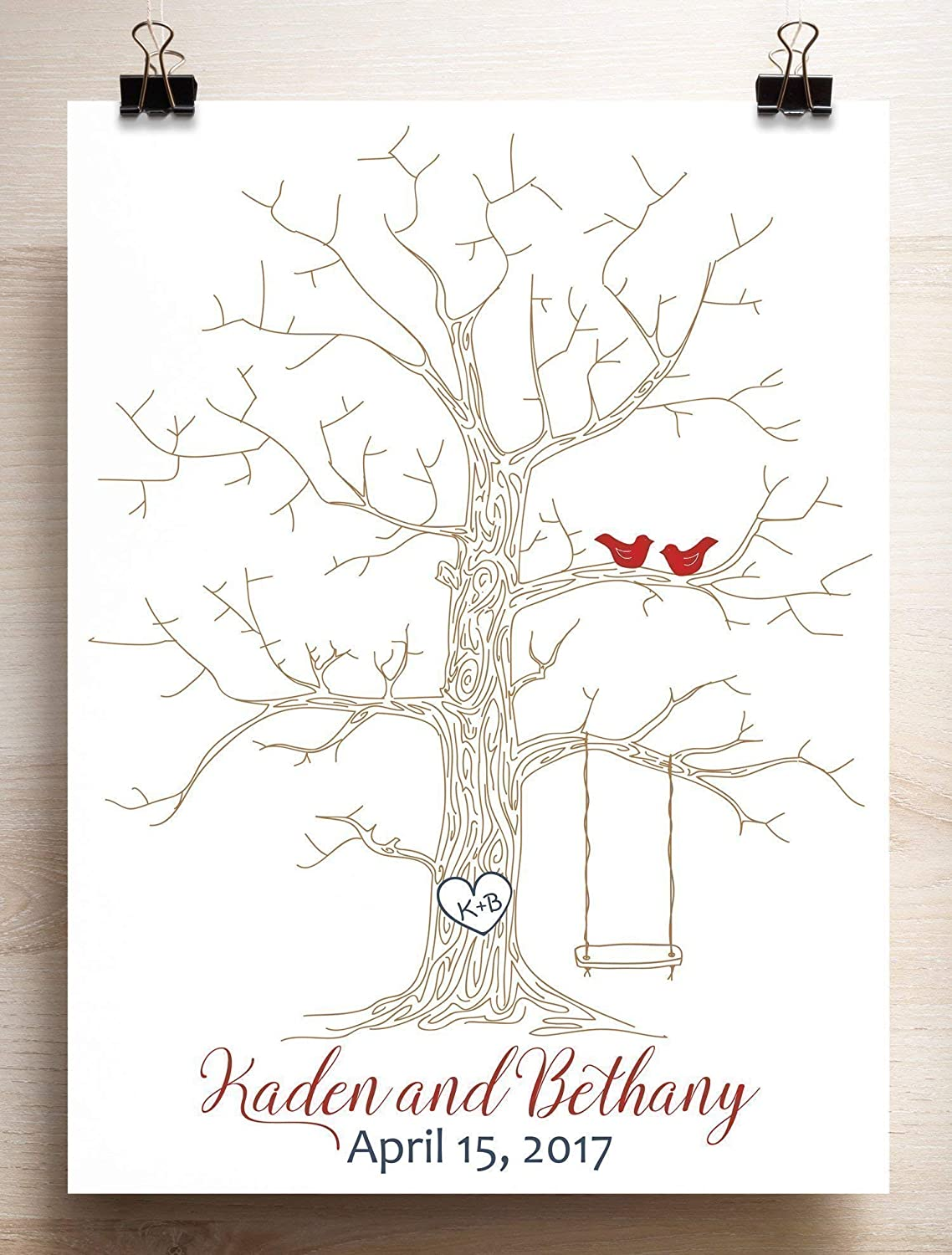 Wedding Guest Book Alternative Thumbprint Tree with Swing for Fingerprints and Love Birds