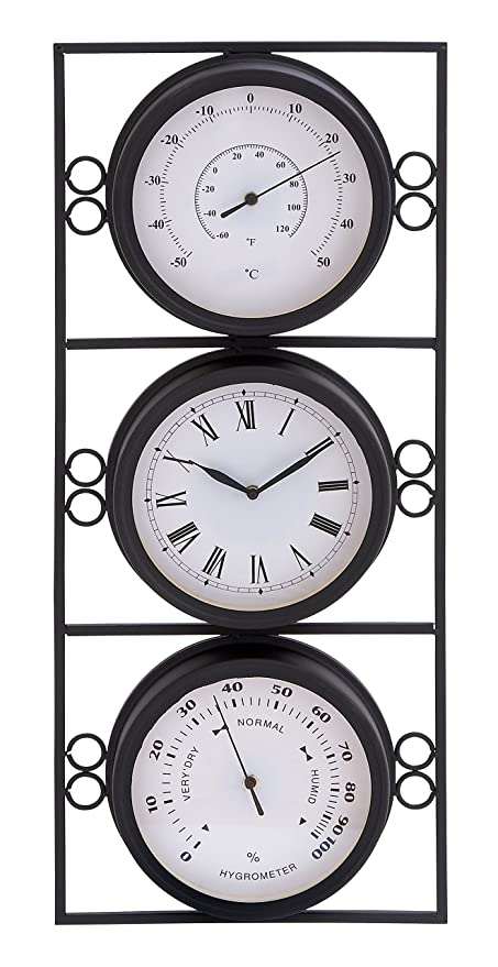 deco 79 35418 metal outdoor clock thermometer 11 by 26 inch - Outdoor Clock Thermometer