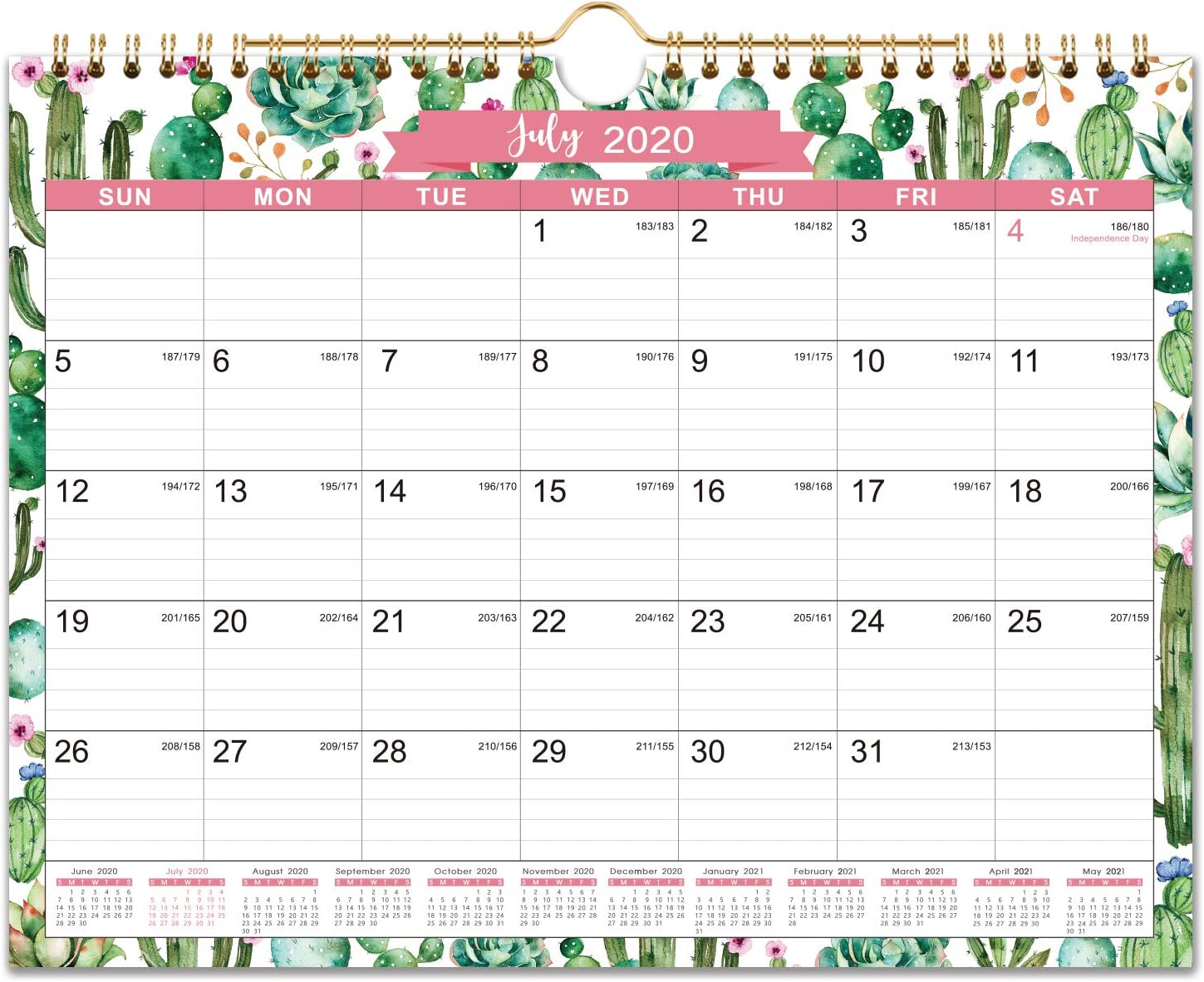 "2020-2021 Calendar - 18 Monthly Wall Calendar, 11"" x 8.5"", Jul. 2020 - Dec. 2021, Twin-Wire Binding, Ruled Blocks with Julian Dates, Perfect for Planning and Organizing for Home or Office"
