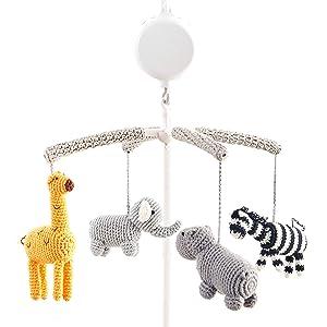 Joliecraft Woodland Safari Musical Baby Crib Mobile, Handmade Nursery Mobile Decor in White and Gray