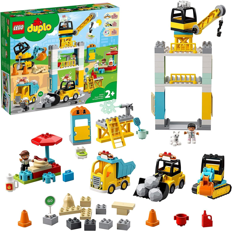 LEGO DUPLO Town - Grúa Torre y Obra, juguete para niños y niñas a partir de 2 años, set de construcción didáctico con luces y sonidos, incluye motor Push & Go (10933)