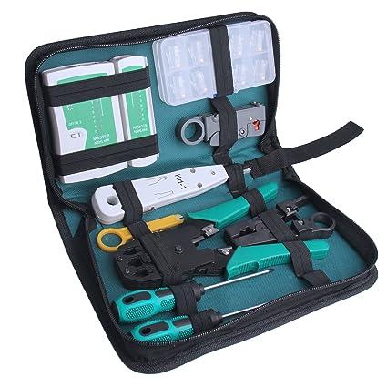 IDMAX Profesional de red de mantenimiento de la computadora Herramientas de reparación Kit con Zipper Caja de almacenamiento, 18 piezas