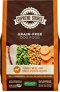 Supreme Source Premium Dry Dog Food Grain Free, USDA Organic Seaweed, Protein, Turkey Meal & Sweet Potato Recipe for All Life Stages. Made in The USA.