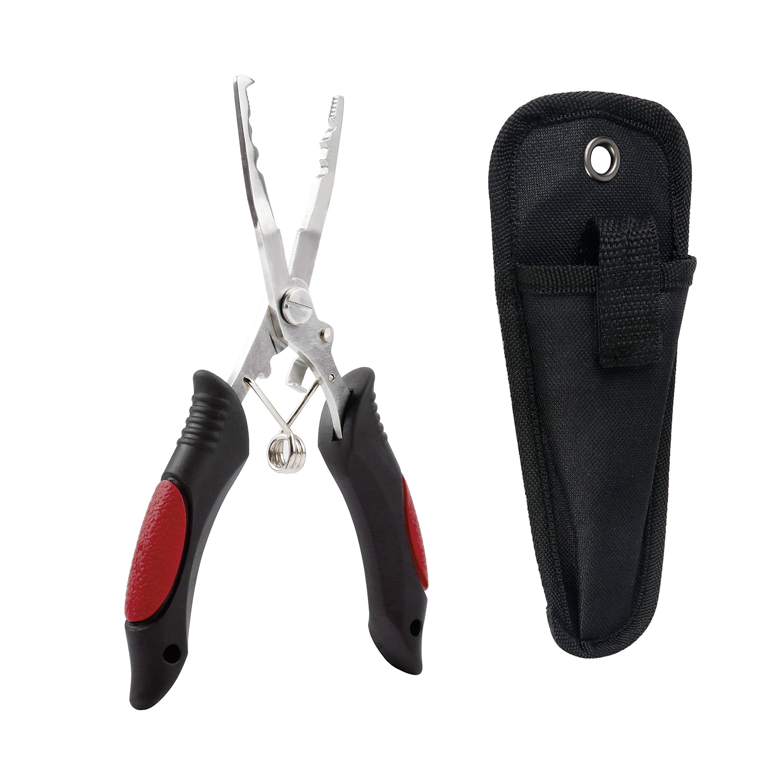 RUNCL Fishing Pliers Stainless Steel L1, Needle Nose Pliers Braid Cutter Hook Remover Split Ring Pliers Crimper Fish Gripper with Coiled Sheath for Freshwater and Saltwater Fishing (Red & Black)