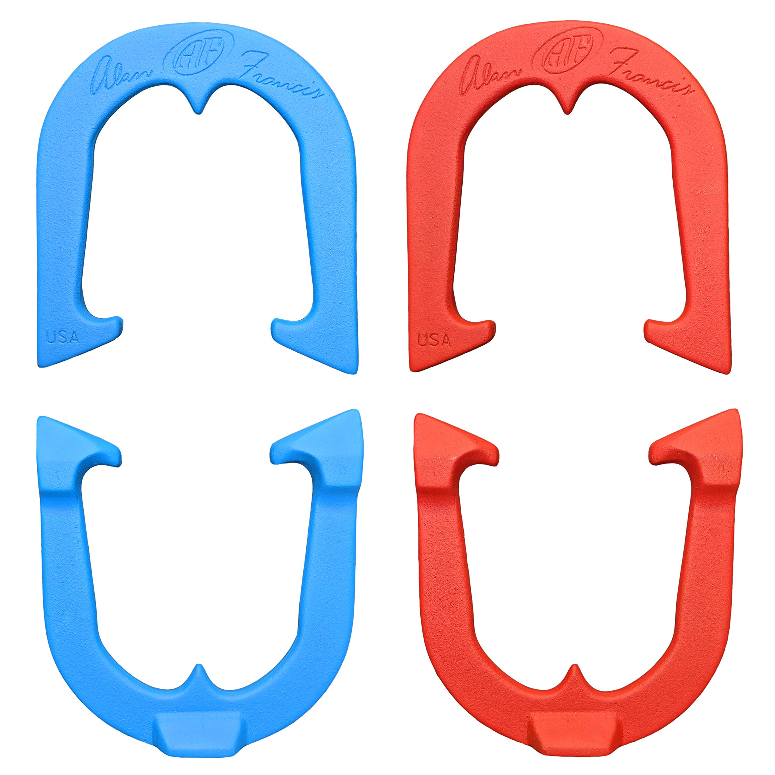 Alan Francis Signature Professional Pitching Horseshoes Set- Made n The USA (Red & Blue- Two Pair Set (4 Shoes)) by Thoroughbred Horseshoes