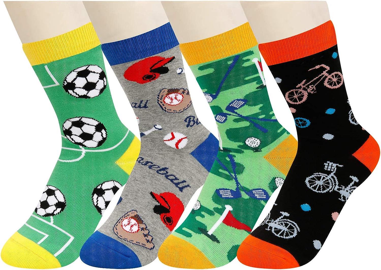 HAPPYPOP Boys Crew Socks Novelty Crazy Shark Animal Space Sports Food Socks for Kids Gift Box…