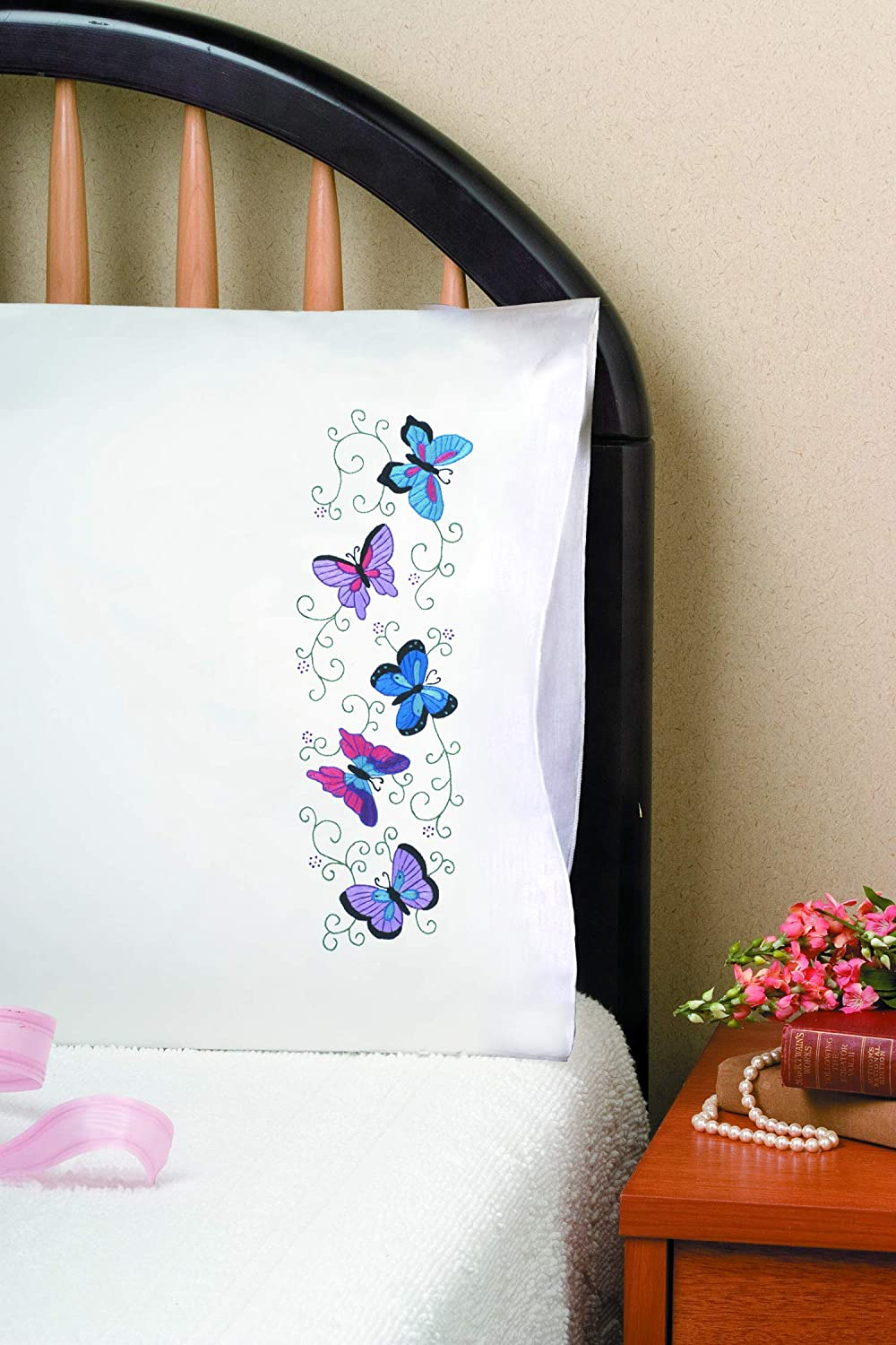 Tobin T232046 Stamped Pillowcase Pair Stamped Cross Stitch Kit For Embroidery 20 By 30 Inch Butterflies Amazon Ca Home Kitchen