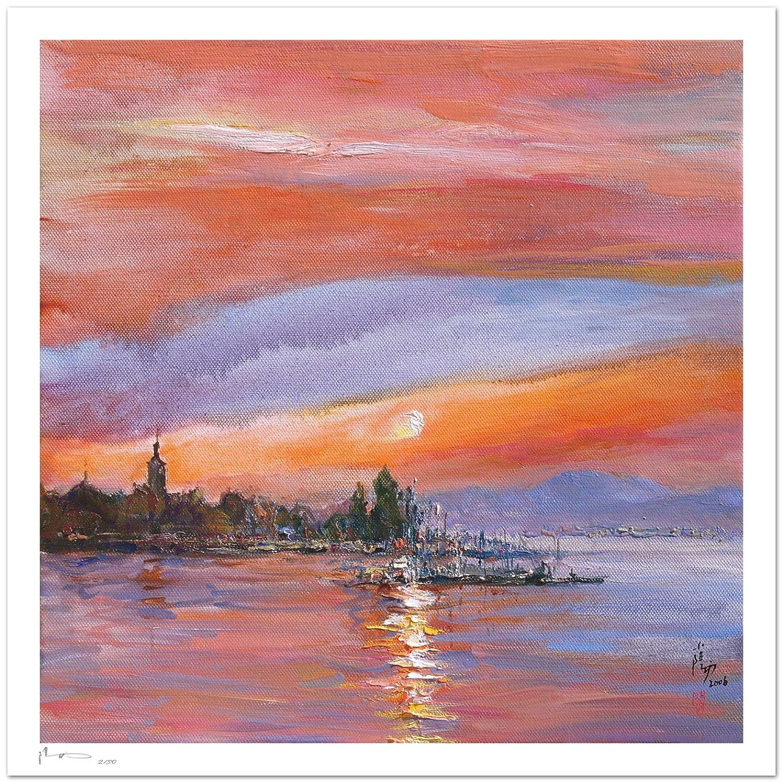 Reproducción de arte - Sunset in Evian - sobre papel de acuarela ...