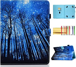 Universal 9.6-10.5 inch Tablet Case, Techcircle PU Leather Folio Stand Magnetic Book Cover with Card/Pen Holder, for Sumsung/Lenovo Tab/Asus/iPad 9.7/Fire HD 10 & More 10 Inch, Blue Light Forest