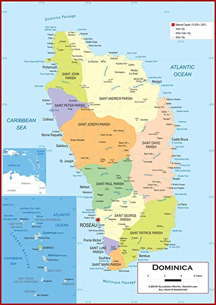 Amazon.com : Academia Maps - Wall Map of Dominica - Fully Laminated on