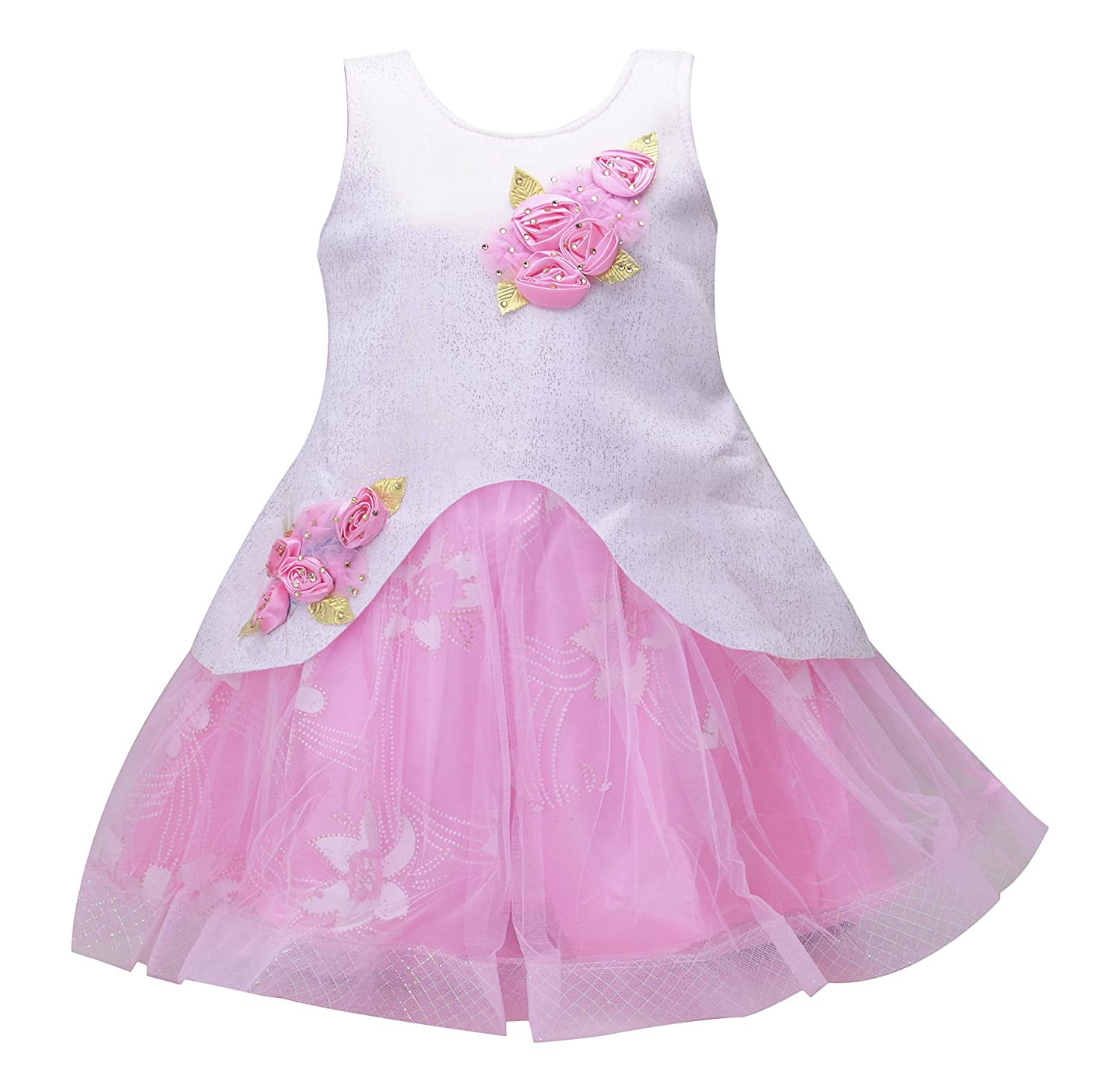 d32239942 Kids Girls Birthday Party wear Frock Dress for Baby Girl Kids_ Pink  Scuba_1-7 Years