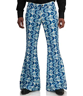 neue Kollektion 50% Preis bieten viel Comycom 70er Jahre Muster Schlaghose Waves blau: Amazon.de ...