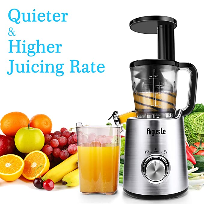 Argus Le ALB5010 Slow Masticating Fruits and Vegetables Quiter and Higher Juicing Rate, Cold Press Juicer Machine with 3 Minutes Quick Clean, Medium, Silver
