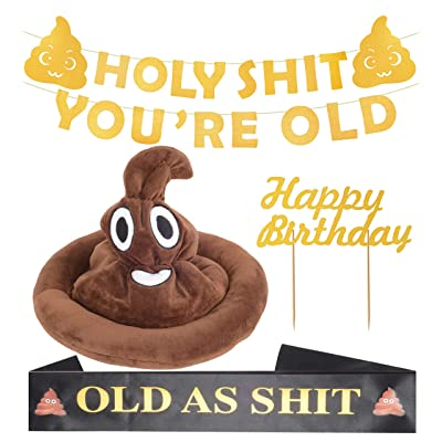 "Holy SHT You're Old Gold Birthday Banner | Old as Sht"" Black Satin Sash 