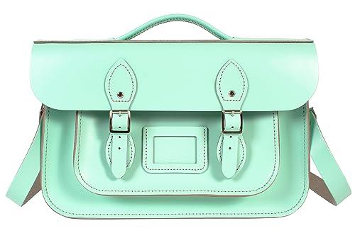 Oxbridge Satchels - Bolso estilo cartera de Piel para mujer Verde verde menta