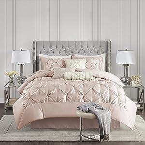 Madison Park Laurel 7 Piece Comforter Faux Silk Diamond Tufted, Embroidered Toss Pillow All Season Shabby Chic Bedding Set, Matching Sham, Bedskirt, Full, Blush