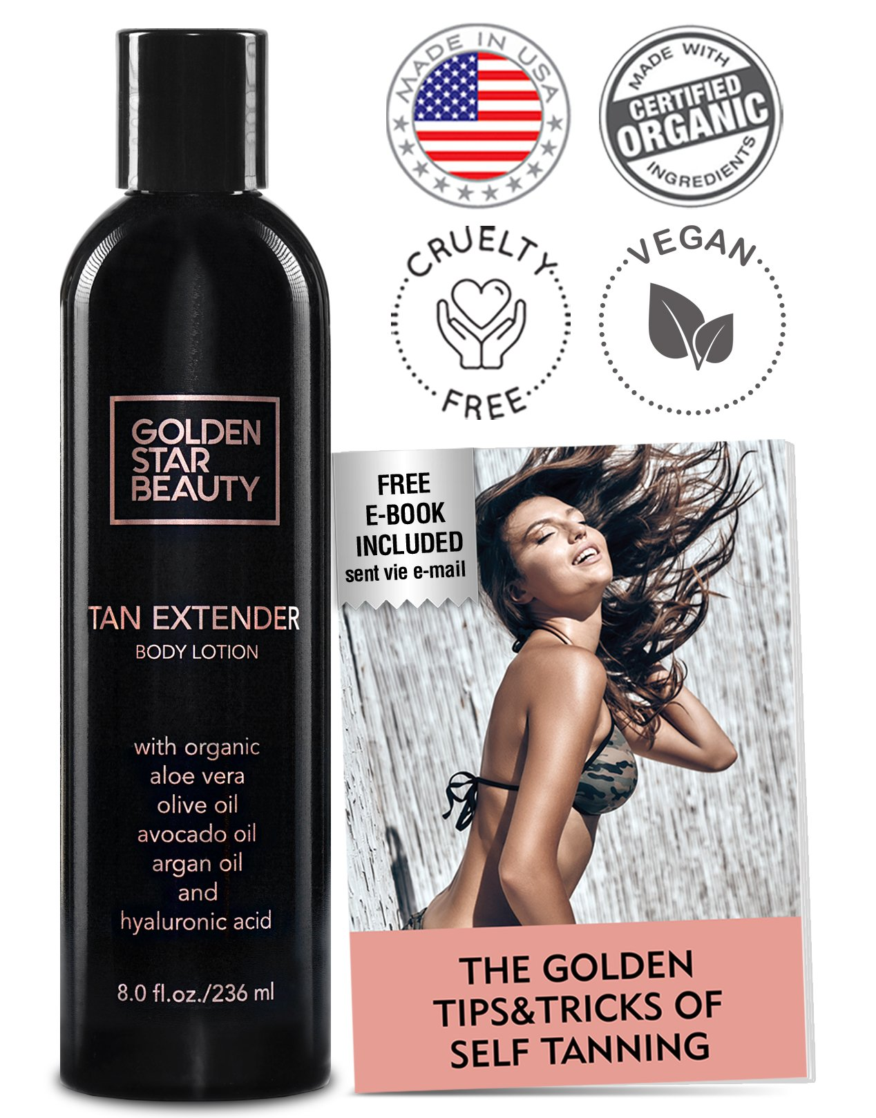 Amazon self tanner sunless tanning spray natural and tan extender daily moisturizer after tanning lotion worganic oils vitamins and hyaluronic fandeluxe Images