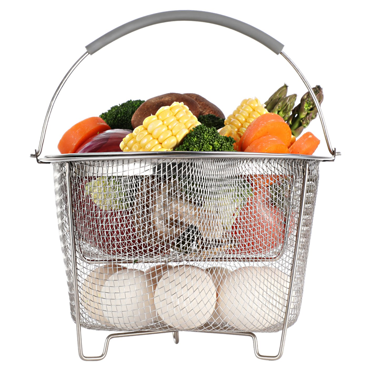 Aoizta Double Tier Stackable Steamer Basket for Instant Pot Accessories 6/8 qt, 18/8 Stainless Steel Mesh Strainer Basket for Vegetables, Eggs, Meats, etc by Aozita (Image #5)