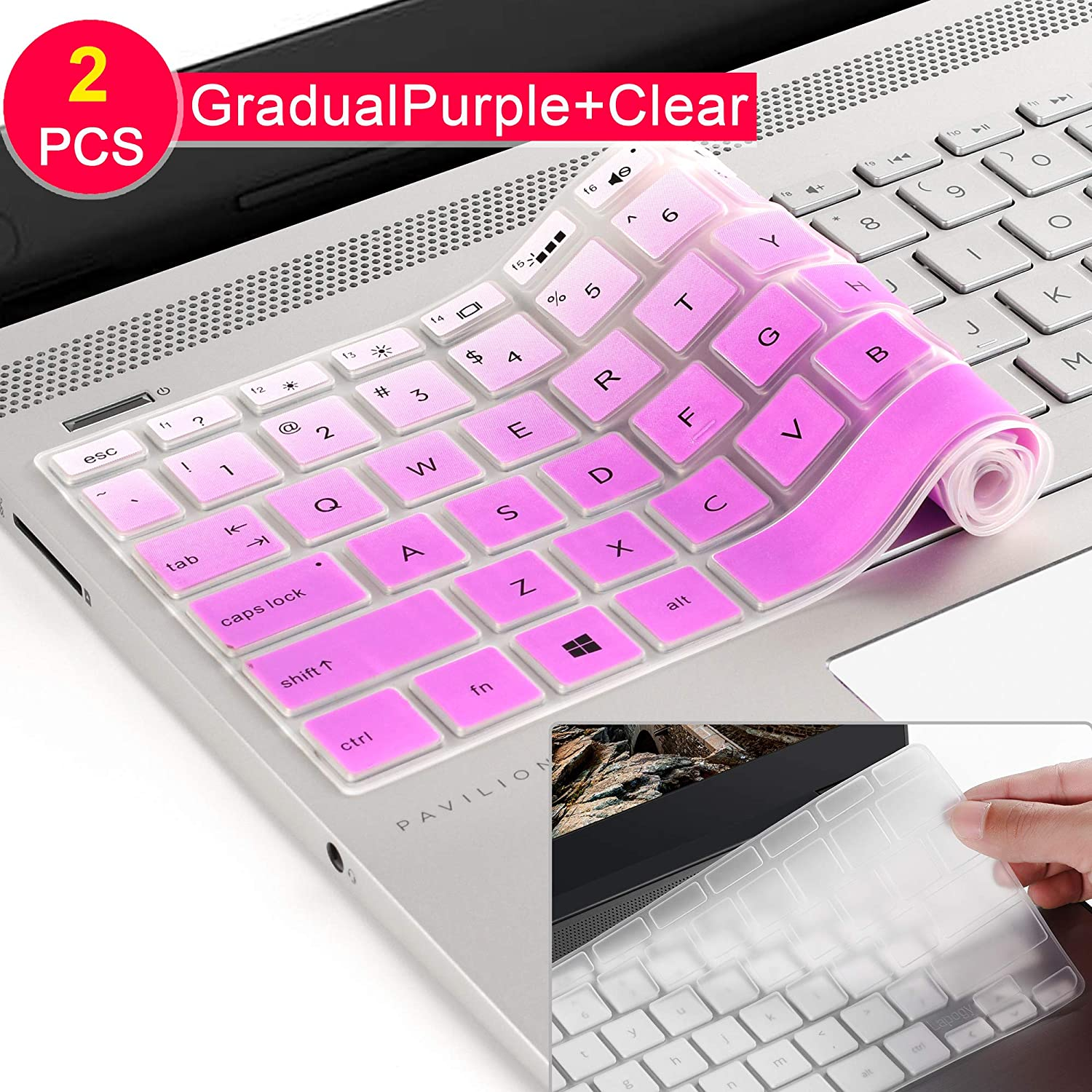 "HP Pavilion X360 14M Keyboard Cover Ultra Thin Anti Dust Silicon Skin Protector for HP Pavilion X360 14M-BA011DX 14M-BA013DX 14M-BA015DX 14M-BA114DX 14"" Touchscreen Laptop US Layout(Gradualpurple)"