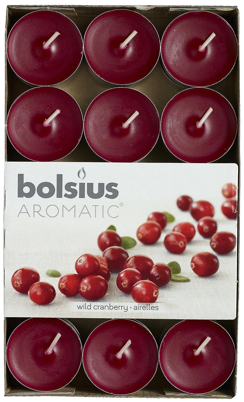 Aromatic, lumini tealight all'aroma Wild Cranberry, Aroma al Mirtillo Rosso, in Cera di paraffina, Colore Rosso Granata, Confezione da 30 Pezzi lumini tealight all'aroma Wild Cranberry Bolsius 103626944489