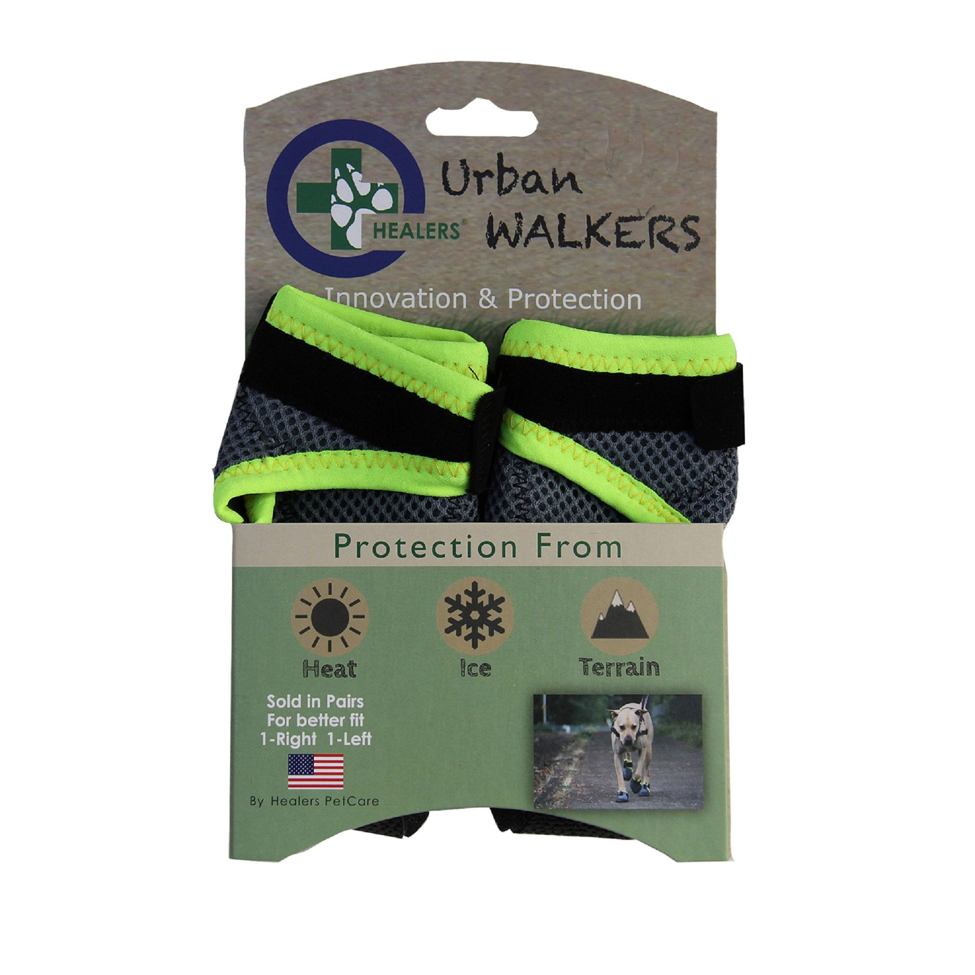 Healers Urban Walkers Dog Boots for Paw Protection, 1-Pair, Large, Paw Width 3-1/8'' Inches