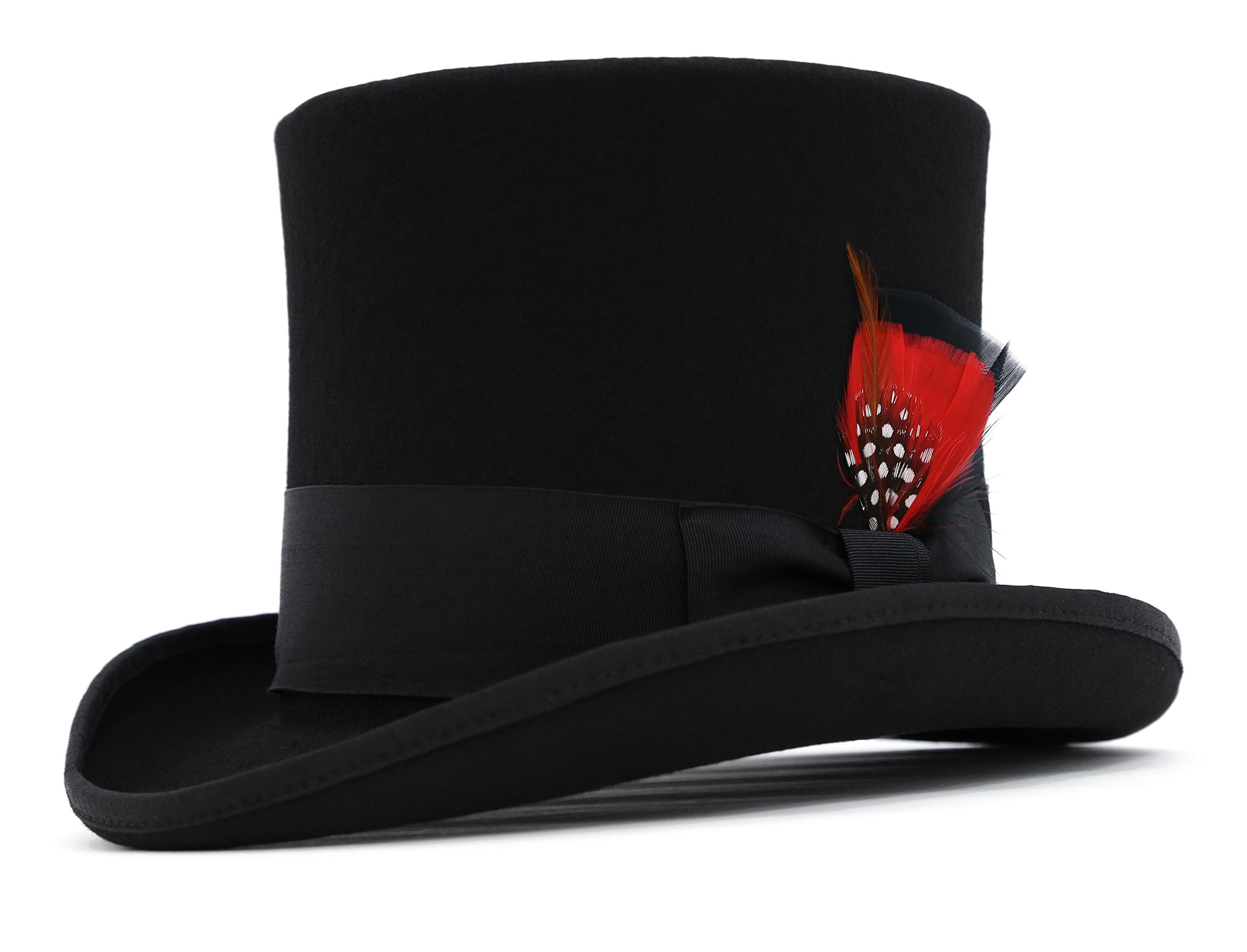 Ferrecci Wool Felt Top Hat /18 Colors/with Grosgrain Ribbon and Removable Feather- Unisex, Men, Women 3