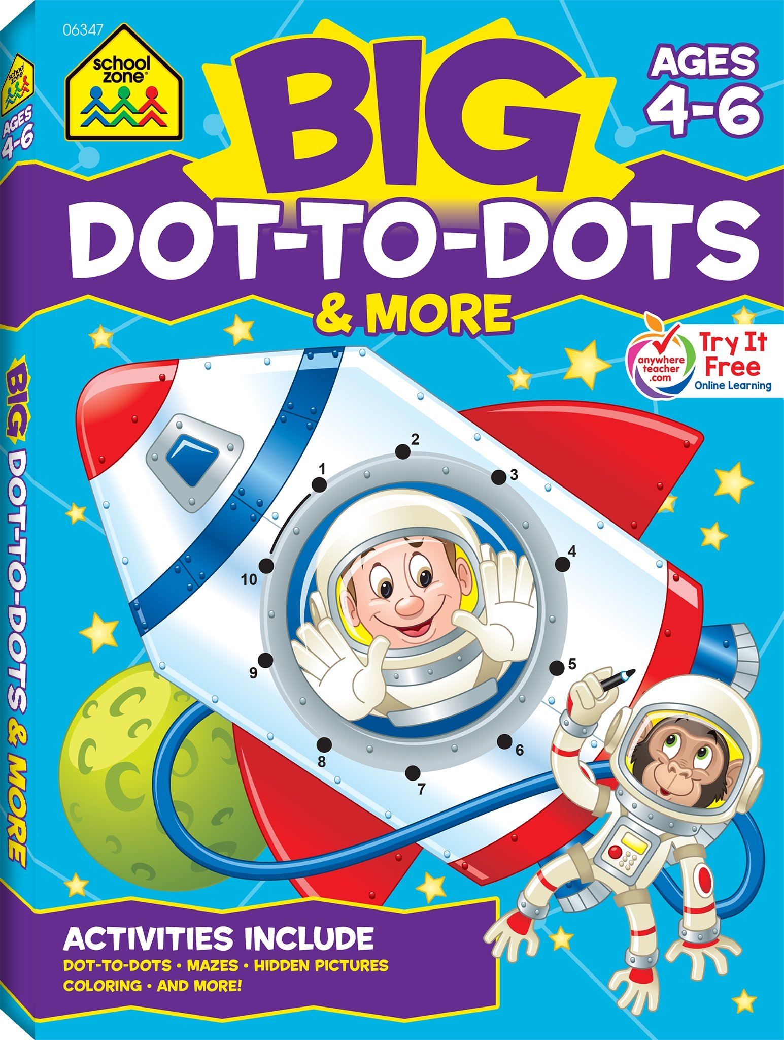 School Zone - Big Dot-to-Dots and More Workbook - Ages 4 to 6, Games ...