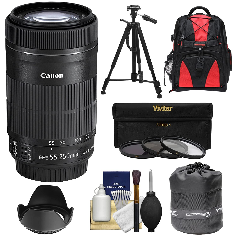 Canon EF - S 55 – 250 mm f / 4.0 – 5.6 is STMズームレンズwith 3 UV/CPL / nd8フィルタ+フード+バックパック+三脚+キットfor EOS 70d, Rebel t3、t3i、t4i、t5、t5i、sl1 DSLRカメラ   B00GG12XXO
