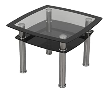 AVF T22 A Black Glass U0026 Chrome Side Table / Lamp Table / End Table