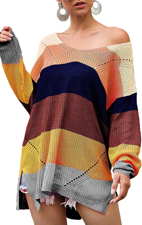 Imixcity Maglione Lavorato a Maglia con Scollo a V da Donna Maglione Casual a Righe Color Block Pullover a Maniche Lunghe Felpa Lunga