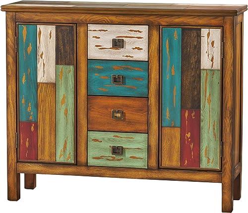 Furniture of America Laires 5-Shelf Enclosed Shoe Cabinet, Oak