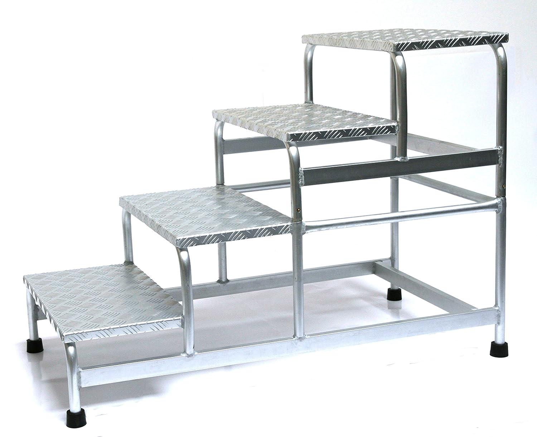 Alu-Montagetritt 4-stufig Marke: Szagato HxBxT: 77x61x119cm Arbeitspodest Stufentritt Tritt Trittleiter Aluminium