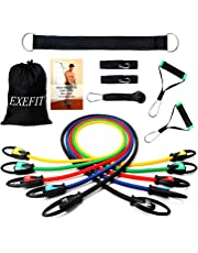 FITODO Bandes de Résistance élastiques Fitness Set Comprendre Guide d'exercice+ 5 Tubes en Latex Professionnels + Poignées+Ancre de Porte + Sangles Pied+ Sac de Transport