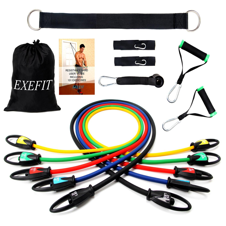 FITODO Bandes de Résistance élastiques Fitness Set Comprendre Guide  d exercice+ 5 Tubes en Latex eb36e58db53