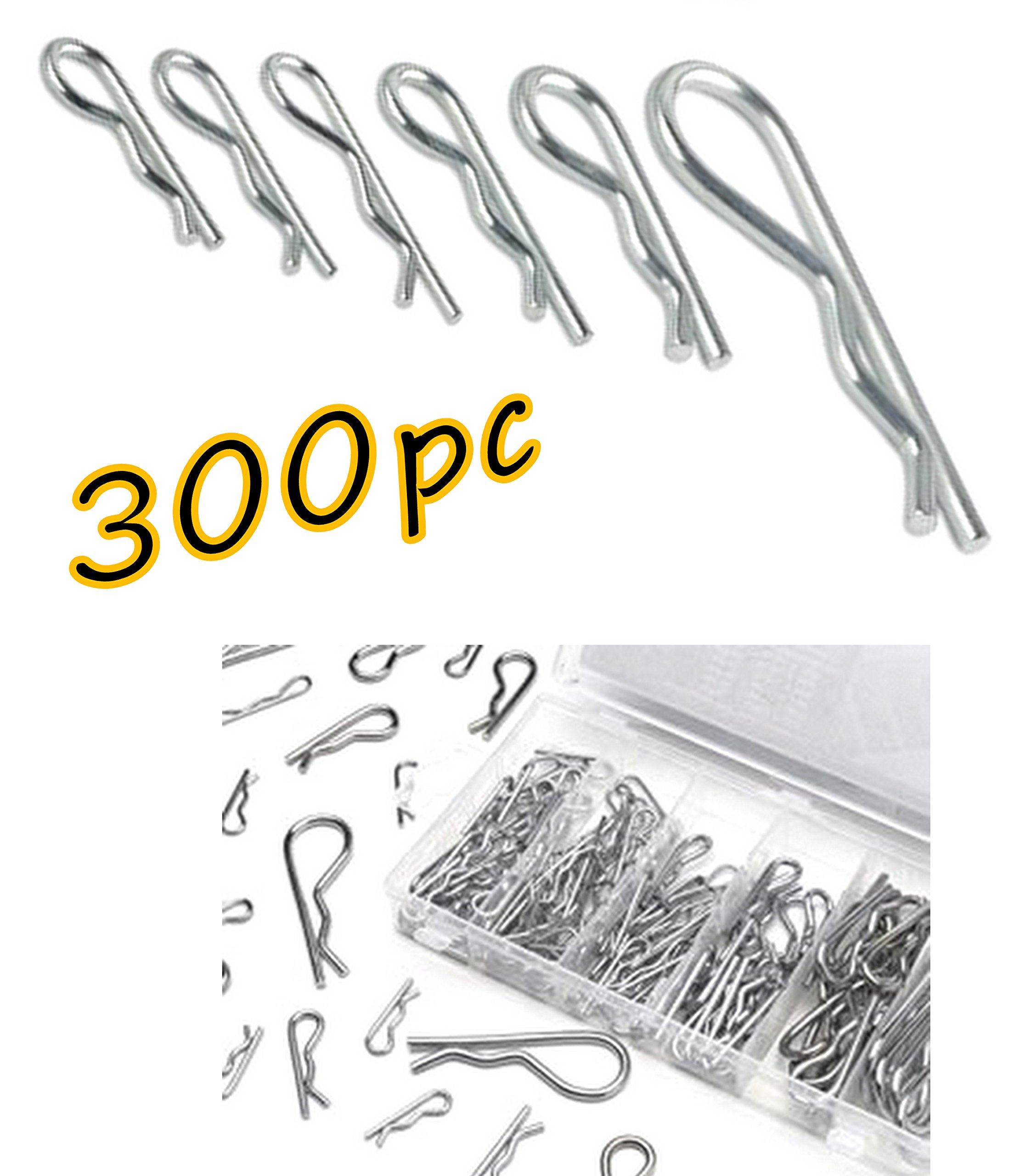 300pc Assorted Premium Quality Tool Shop Trailer Hitch pin Hair Pin Cotter Pin Fastener Clip